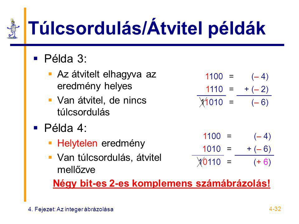4. Fejezet: Az integer ábrázolása 4-32 Túlcsordulás/Átvitel példák  Példa 3:  Az átvitelt elhagyva az eredmény helyes  Van átvitel, de nincs túlcso
