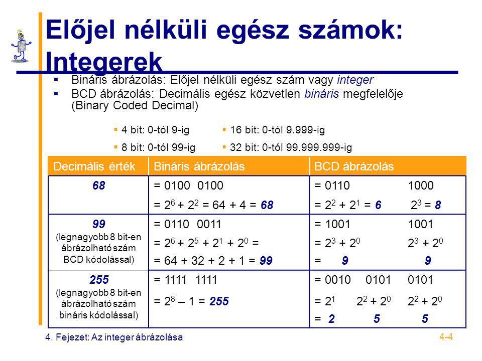 4. Fejezet: Az integer ábrázolása 4-4 Előjel nélküli egész számok: Integerek  Bináris ábrázolás: Előjel nélküli egész szám vagy integer  BCD ábrázol
