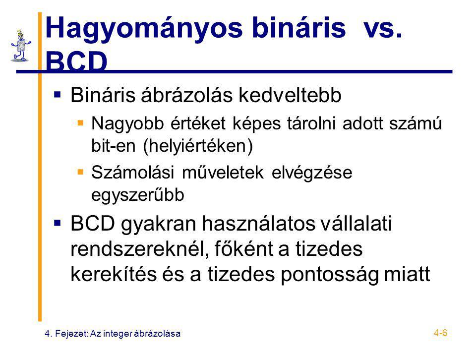 4. Fejezet: Az integer ábrázolása 4-6 Hagyományos bináris vs. BCD  Bináris ábrázolás kedveltebb  Nagyobb értéket képes tárolni adott számú bit-en (h
