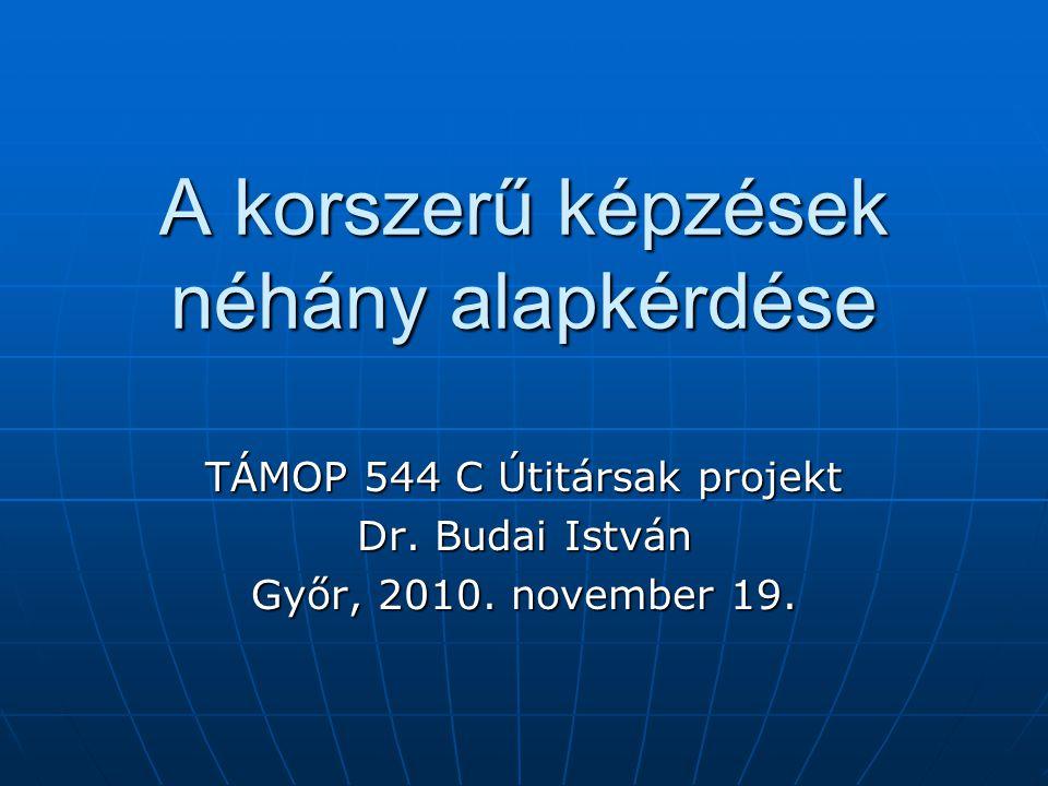 A korszerű képzések néhány alapkérdése TÁMOP 544 C Útitársak projekt Dr. Budai István Győr, 2010. november 19.