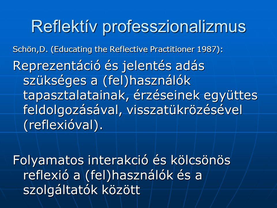 Reflektív professzionalizmus Schön,D. (Educating the Reflective Practitioner 1987): Reprezentáció és jelentés adás szükséges a (fel)használók tapaszta