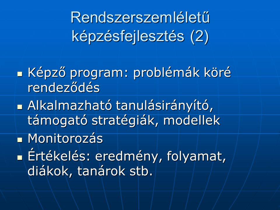 Rendszerszemléletű képzésfejlesztés (2) Képző program: problémák köré rendeződés Képző program: problémák köré rendeződés Alkalmazható tanulásirányító, támogató stratégiák, modellek Alkalmazható tanulásirányító, támogató stratégiák, modellek Monitorozás Monitorozás Értékelés: eredmény, folyamat, diákok, tanárok stb.