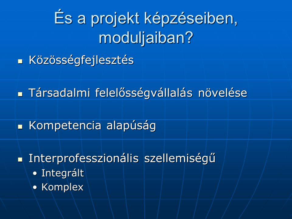 És a projekt képzéseiben, moduljaiban? Közösségfejlesztés Közösségfejlesztés Társadalmi felelősségvállalás növelése Társadalmi felelősségvállalás növe