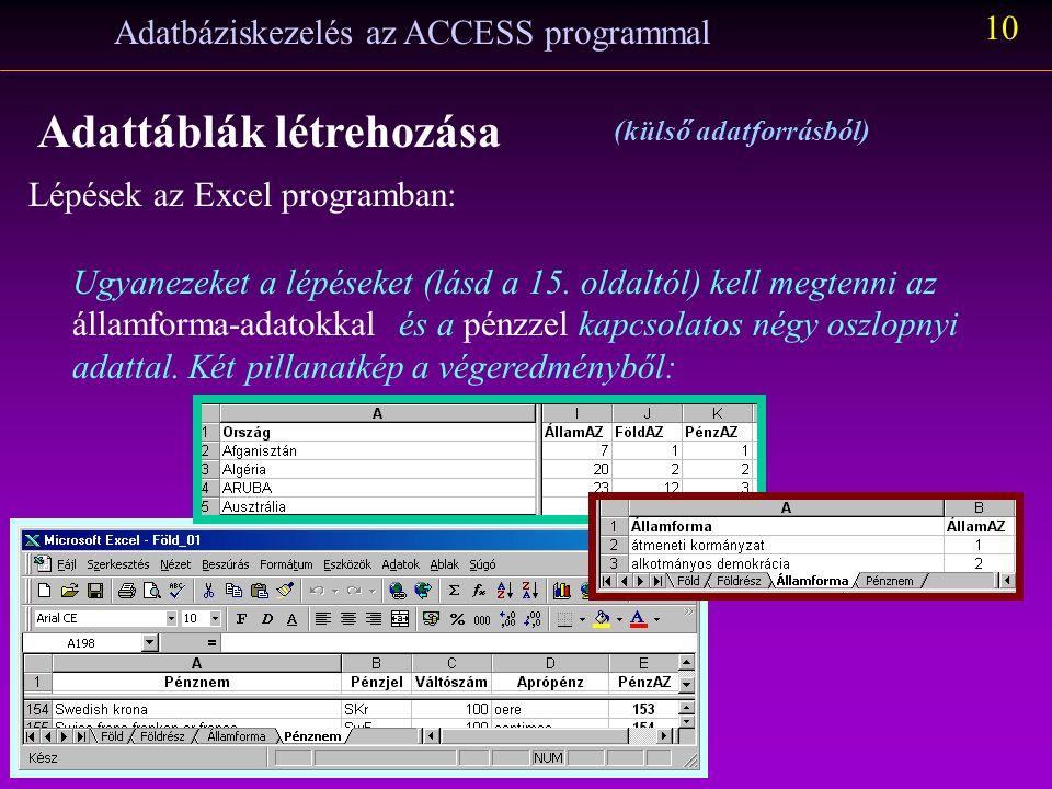 Lépések az Excel programban: Adatbáziskezelés az ACCESS programmal 9 Adattáblák létrehozása (külső adatforrásból) A FöldAZ oszlopot másoljuk át a mellette lévő oszlopba irányított beillesztéssel, hogy csak az értéket másolja át a célterületre.