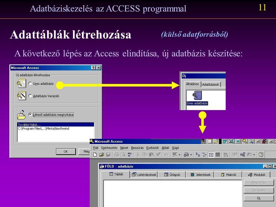 Lépések az Excel programban: Adatbáziskezelés az ACCESS programmal 10 Adattáblák létrehozása (külső adatforrásból) Ugyanezeket a lépéseket (lásd a 15.