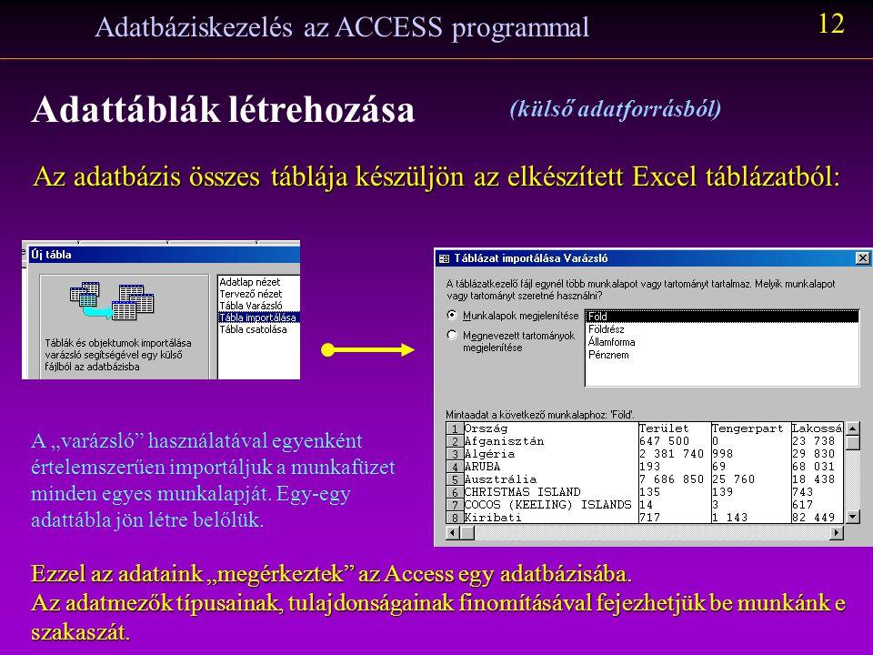 Adatbáziskezelés az ACCESS programmal 11 Adattáblák létrehozása (külső adatforrásból) A következő lépés az Access elindítása, új adatbázis készítése: