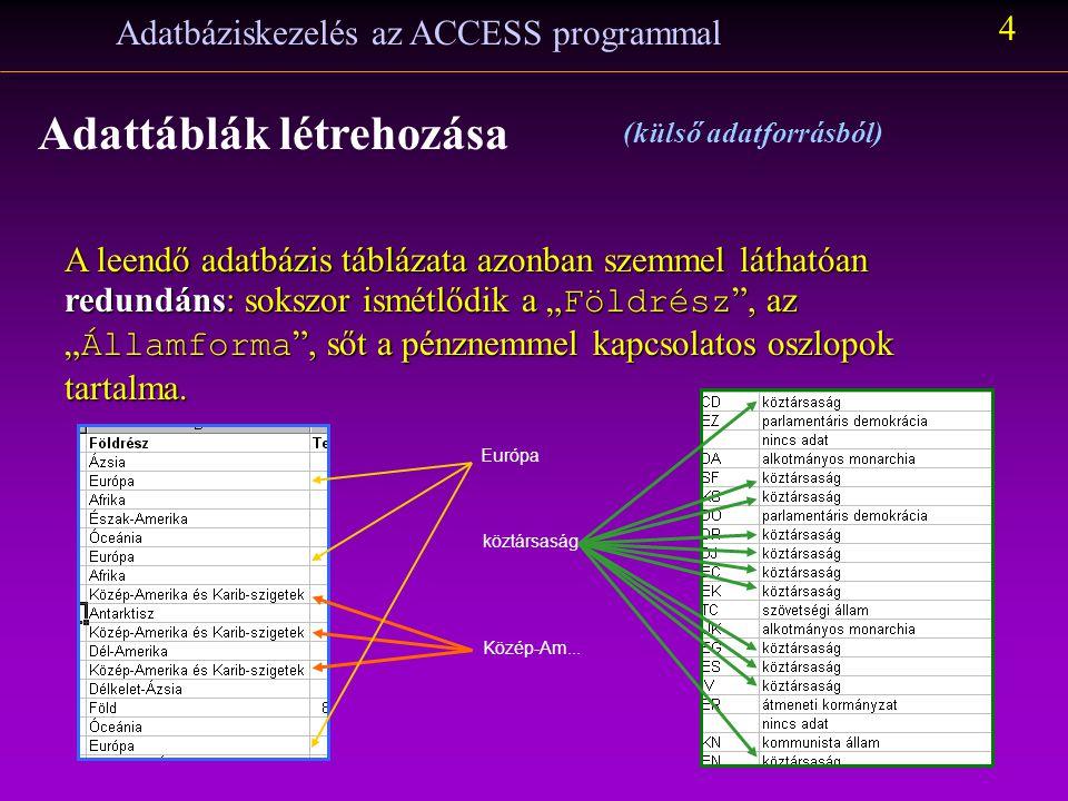 Adatbáziskezelés az ACCESS programmal 3 Adattáblák létrehozása (külső adatforrásból) Íme, ilyen az adathalmaz Excel táblaként a konvertálás után: Az Office csomag programjainak egyik jó tulajdonsága, hogy egymás állományait képesek felhasználni, így az Access ismeri és a maga formátumára tudja alakítani ezt a táblázatot.