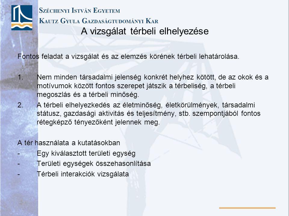 A vizsgálat térbeli elhelyezése Fontos feladat a vizsgálat és az elemzés körének térbeli lehatárolása. 1.Nem minden társadalmi jelenség konkrét helyhe