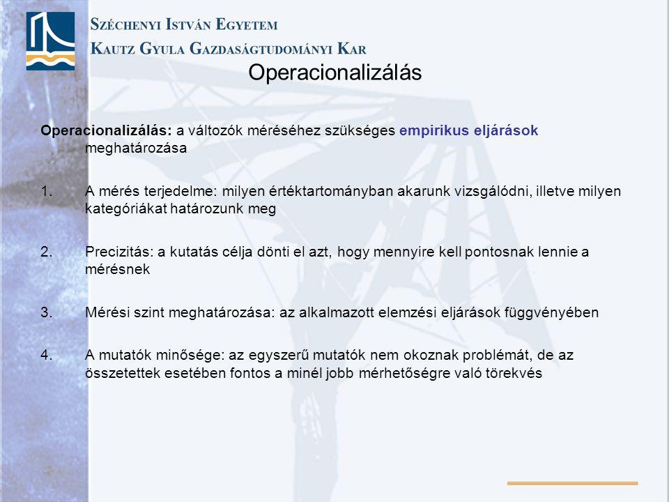 Operacionalizálás Operacionalizálás: a változók méréséhez szükséges empirikus eljárások meghatározása 1.A mérés terjedelme: milyen értéktartományban a