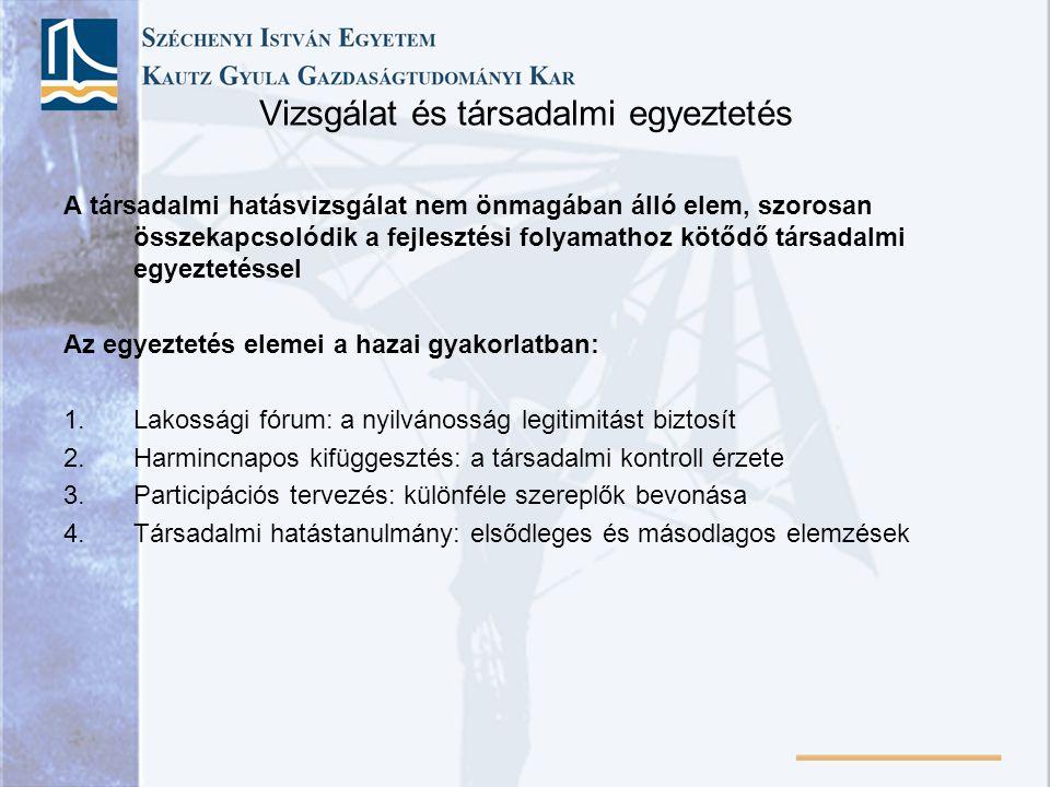 Vizsgálat és társadalmi egyeztetés A társadalmi hatásvizsgálat nem önmagában álló elem, szorosan összekapcsolódik a fejlesztési folyamathoz kötődő tár