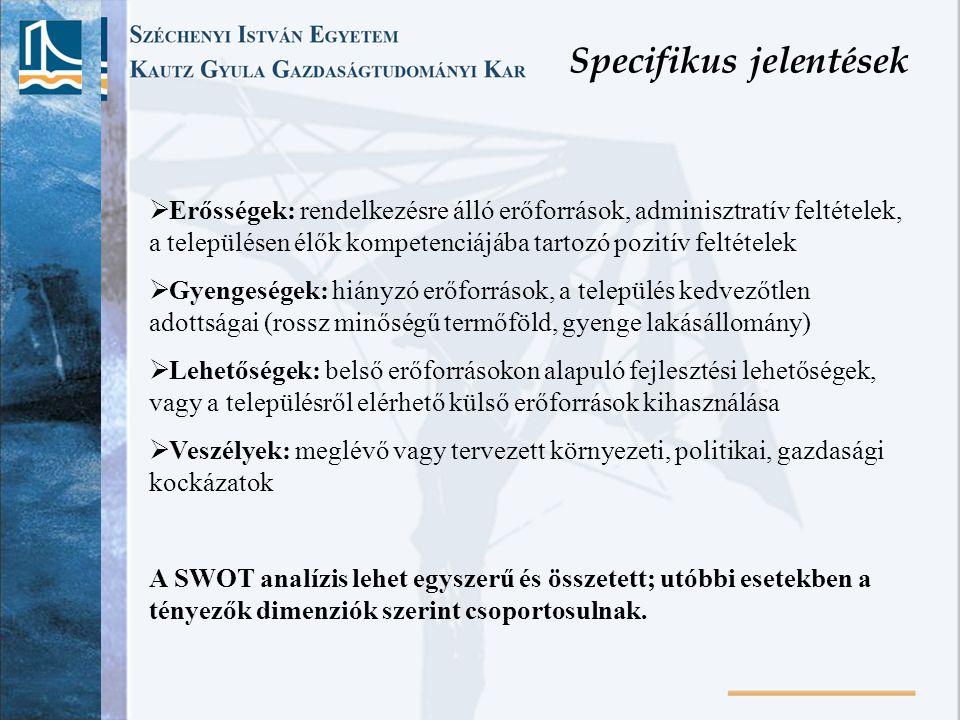 Specifikus jelentések  Erősségek: rendelkezésre álló erőforrások, adminisztratív feltételek, a településen élők kompetenciájába tartozó pozitív felté