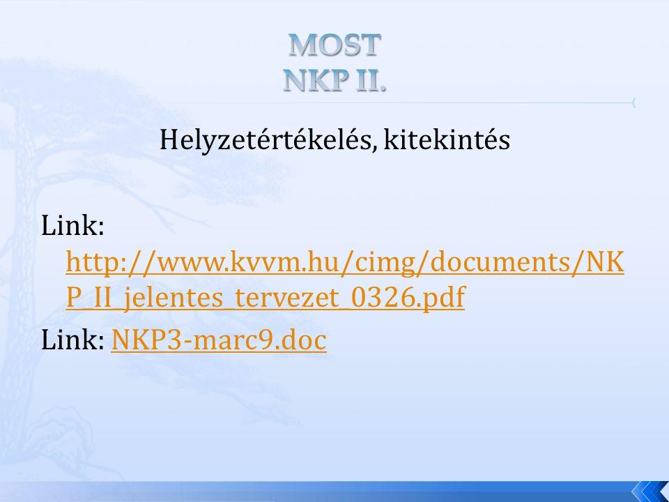 Helyzetértékelés, kitekintés Link: http://www.kvvm.hu/cimg/documents/NK P_II_jelentes_tervezet_0326.pdf http://www.kvvm.hu/cimg/documents/NK P_II_jelentes_tervezet_0326.pdf Link: NKP3-marc9.docNKP3-marc9.doc