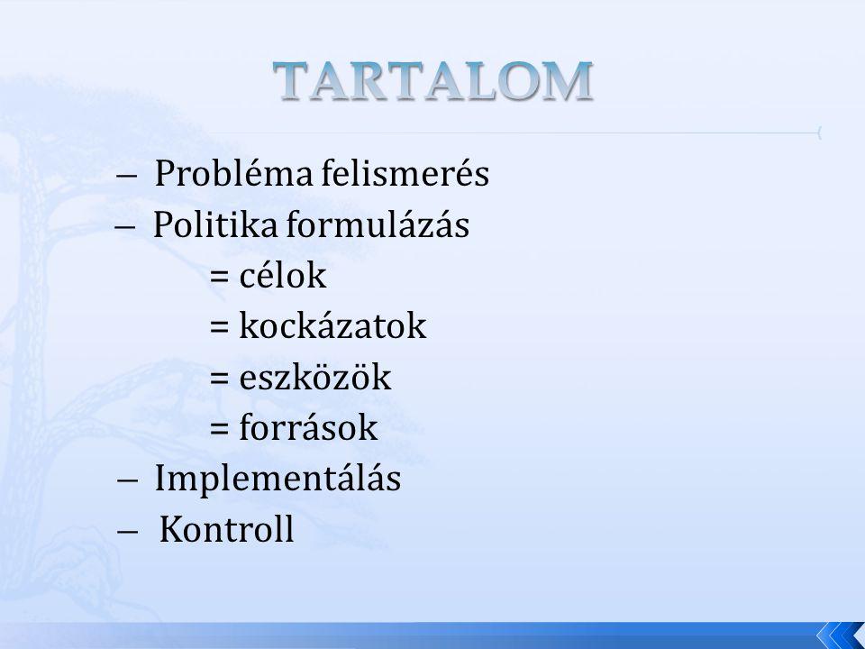 ̶ Probléma felismerés ̶ Politika formulázás = célok = kockázatok = eszközök = források ̶ Implementálás ̶ Kontroll