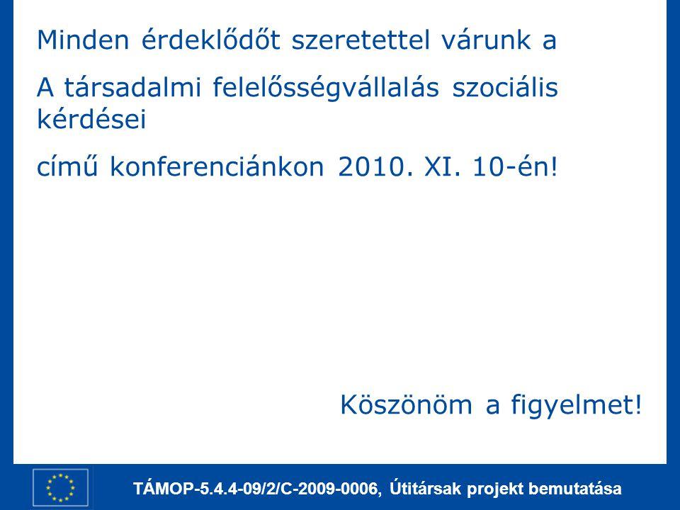 TÁMOP-5.4.4-09/2/C-2009-0006, Útitársak projekt bemutatása Minden érdeklődőt szeretettel várunk a A társadalmi felelősségvállalás szociális kérdései c