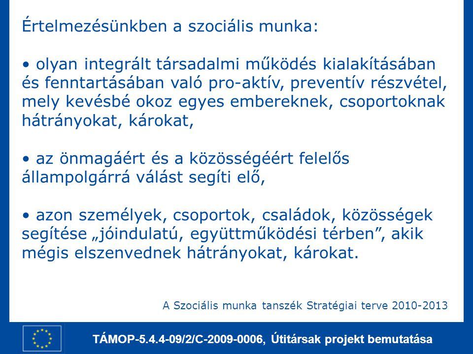 TÁMOP-5.4.4-09/2/C-2009-0006, Útitársak projekt bemutatása Értelmezésünkben a szociális munka: olyan integrált társadalmi működés kialakításában és fe