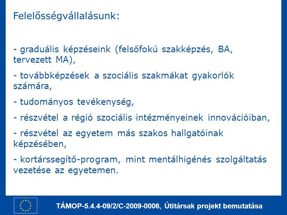 TÁMOP-5.4.4-09/2/C-2009-0006, Útitársak projekt bemutatása Felelősségvállalásunk: - graduális képzéseink (felsőfokú szakképzés, BA, tervezett MA), - t