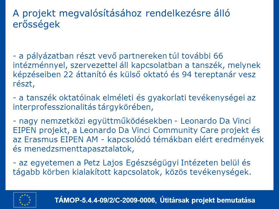 TÁMOP-5.4.4-09/2/C-2009-0006, Útitársak projekt bemutatása A projekt megvalósításához rendelkezésre álló erősségek - a pályázatban részt vevő partnere