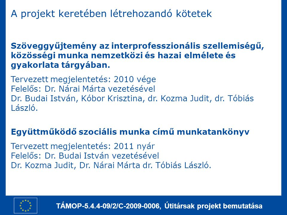 TÁMOP-5.4.4-09/2/C-2009-0006, Útitársak projekt bemutatása A projekt keretében létrehozandó kötetek Szöveggyűjtemény az interprofesszionális szellemiségű, közösségi munka nemzetközi és hazai elmélete és gyakorlata tárgyában.
