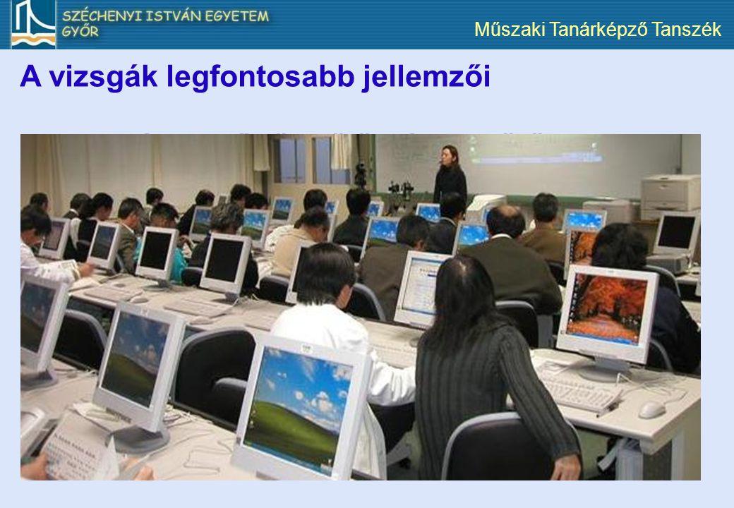 Műszaki Tanárképző Tanszék A vizsgák ellenőrzött körülmények között, számítógépes környezetben folynak. A hallgatók (tantárgytól függően) zárt és nyíl