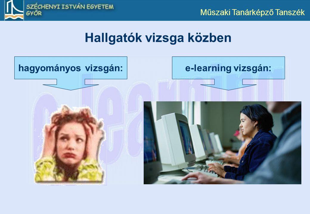 Műszaki Tanárképző Tanszék e-learning vizsgán:hagyományos vizsgán: Hallgatók vizsga közben