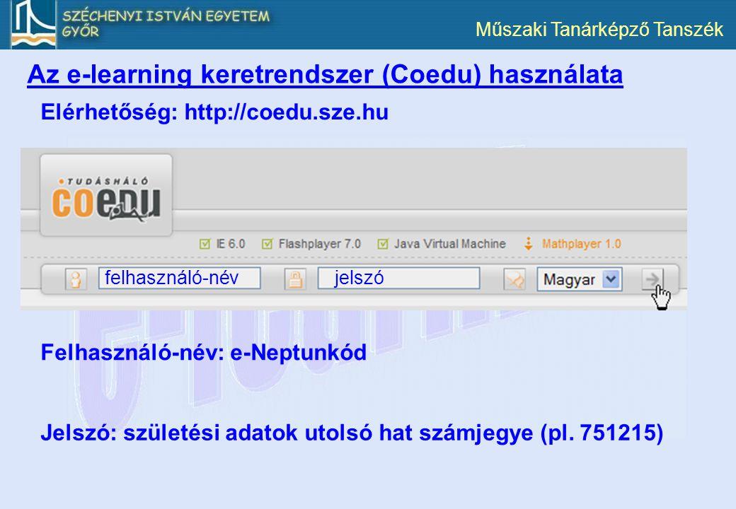 Műszaki Tanárképző Tanszék Az e-learning keretrendszer (Coedu) használata Elérhetőség: http://coedu.sze.hu felhasználó-névjelszó Felhasználó-név: e-Ne