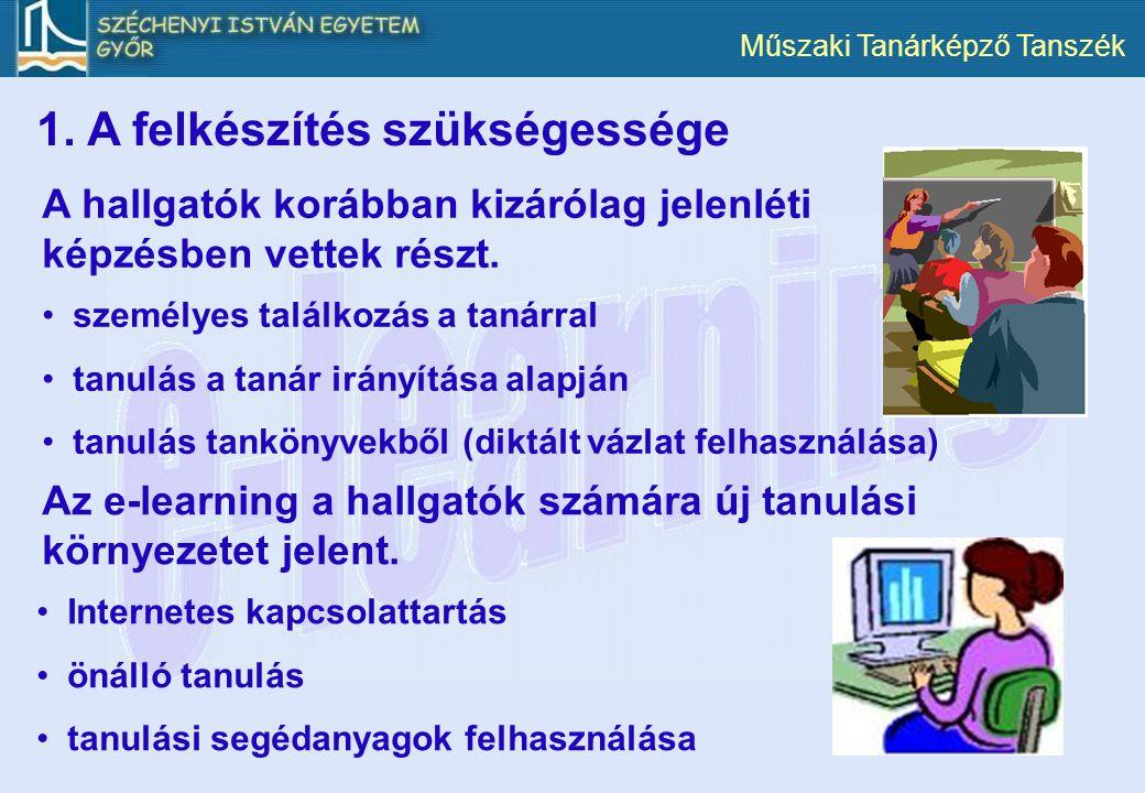 Műszaki Tanárképző Tanszék 1. A felkészítés szükségessége Az e-learning a hallgatók számára új tanulási környezetet jelent. Internetes kapcsolattartás