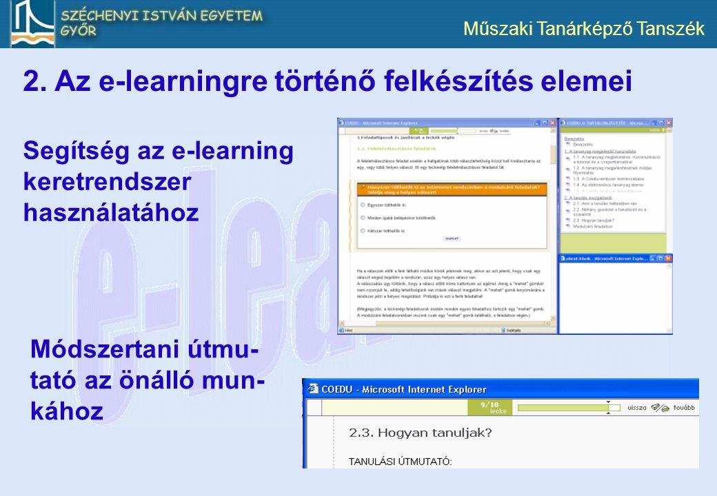 Műszaki Tanárképző Tanszék 2. Az e-learningre történő felkészítés elemei Segítség az e-learning keretrendszer használatához Módszertani útmu- tató az