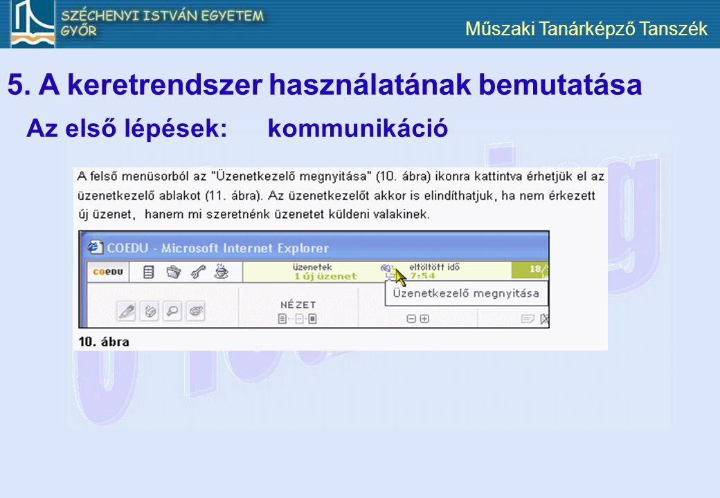 Műszaki Tanárképző Tanszék 5. A keretrendszer használatának bemutatása Az első lépések:kommunikáció
