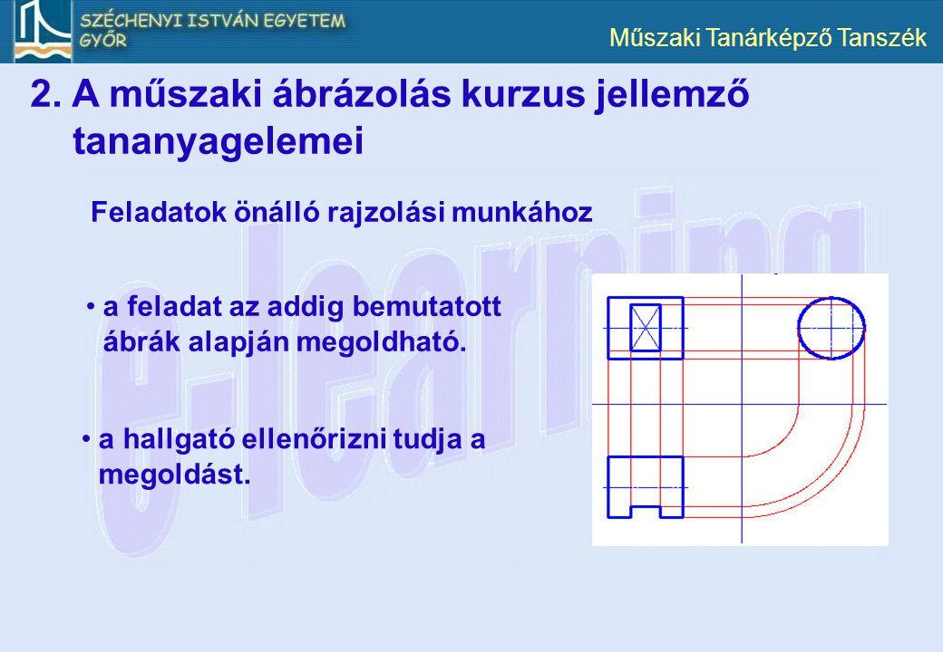 Műszaki Tanárképző Tanszék Feladatok önálló rajzolási munkához a feladat az addig bemutatott ábrák alapján megoldható. a hallgató ellenőrizni tudja a