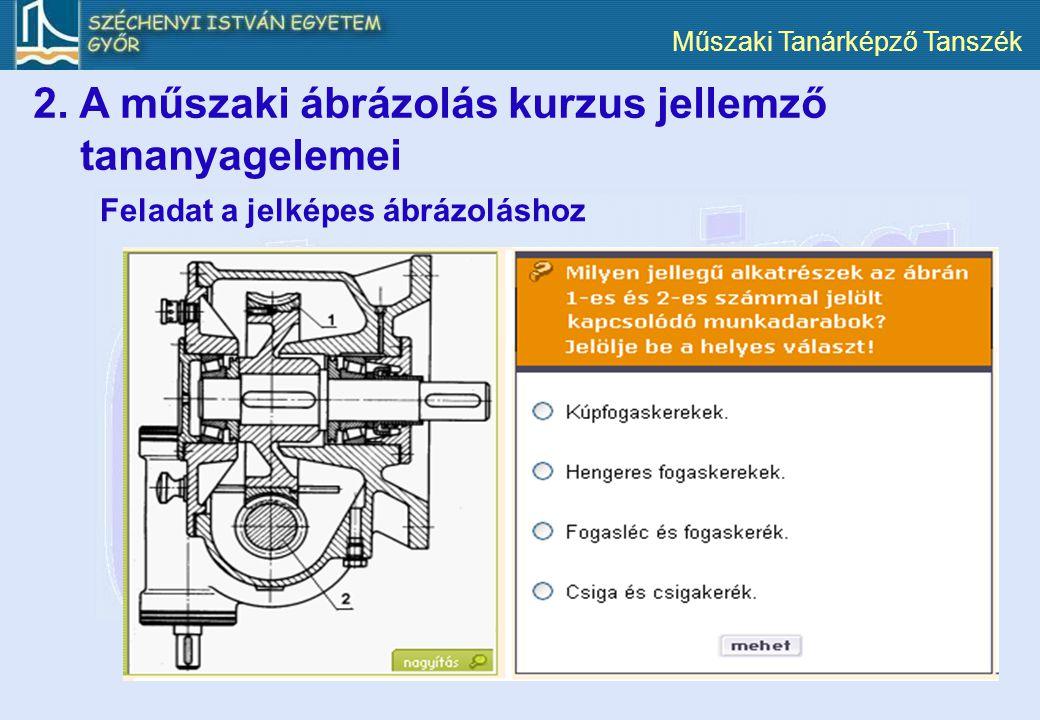 Műszaki Tanárképző Tanszék Feladat a jelképes ábrázoláshoz 2. A műszaki ábrázolás kurzus jellemző tananyagelemei