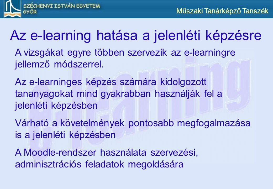 Műszaki Tanárképző Tanszék Az e-learning hatása a jelenléti képzésre A vizsgákat egyre többen szervezik az e-learningre jellemző módszerrel. Az e-lear