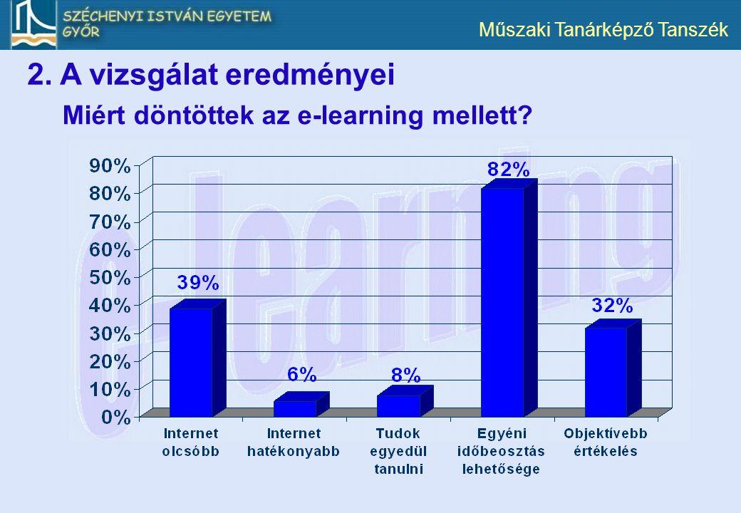 Műszaki Tanárképző Tanszék Miért döntöttek az e-learning mellett? 2. A vizsgálat eredményei
