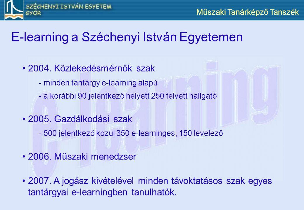 Műszaki Tanárképző Tanszék 2004. Közlekedésmérnök szak 2007. A jogász kivételével minden távoktatásos szak egyes tantárgyai e-learningben tanulhatók.