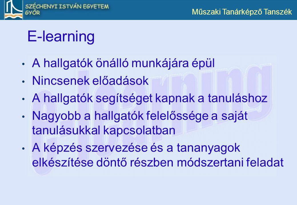 Műszaki Tanárképző Tanszék E-learning A hallgatók önálló munkájára épül Nincsenek előadások A hallgatók segítséget kapnak a tanuláshoz Nagyobb a hallg