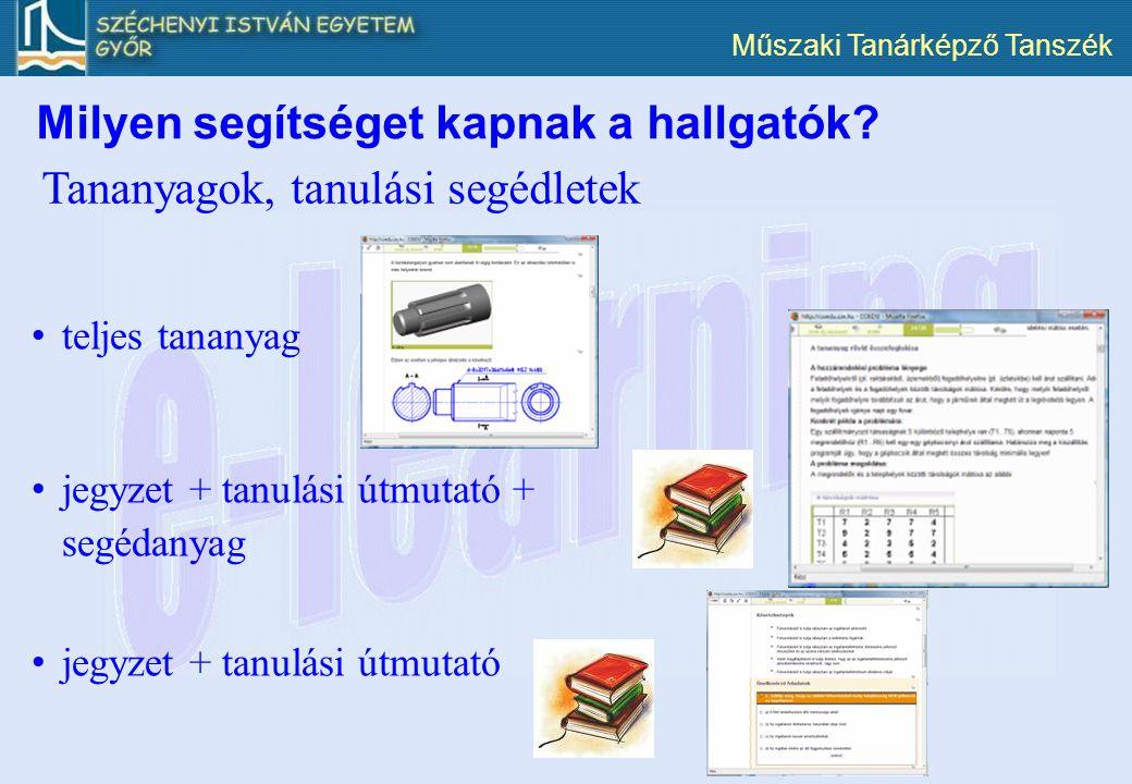 Műszaki Tanárképző Tanszék Tananyagok, tanulási segédletek teljes tananyag jegyzet + tanulási útmutató + segédanyag jegyzet + tanulási útmutató Milyen