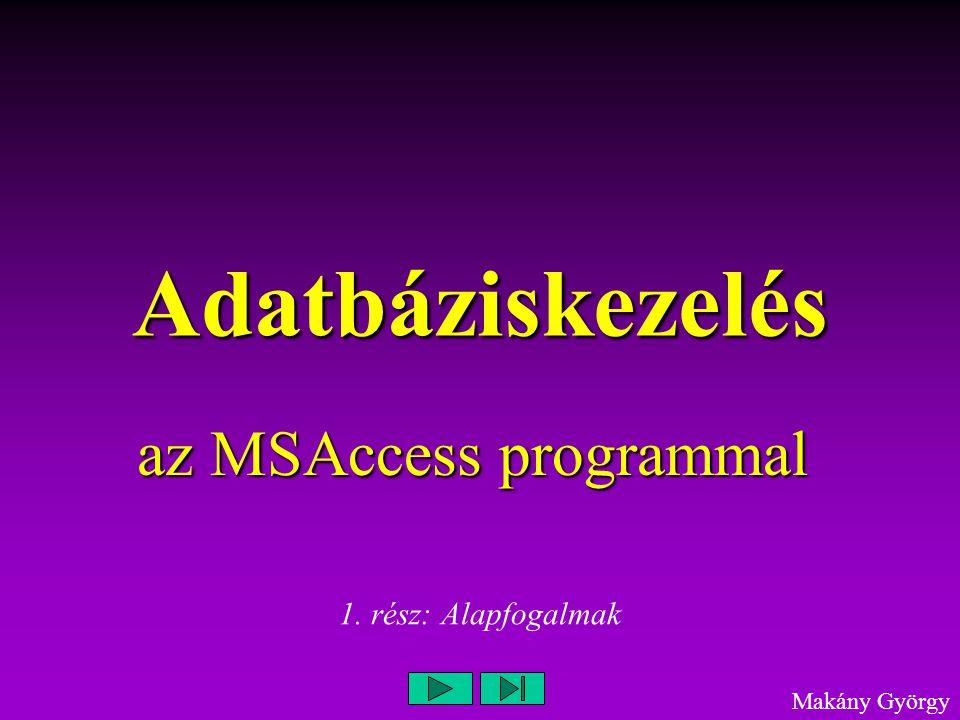 Adatbáziskezelés az MSAccess programmal Makány György 1. rész: Alapfogalmak