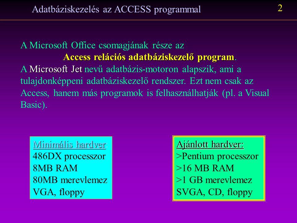 Adatbáziskezelés az ACCESS programmal 2 A Microsoft Office csomagjának része az Access relációs adatbáziskezelő program Access relációs adatbáziskezel