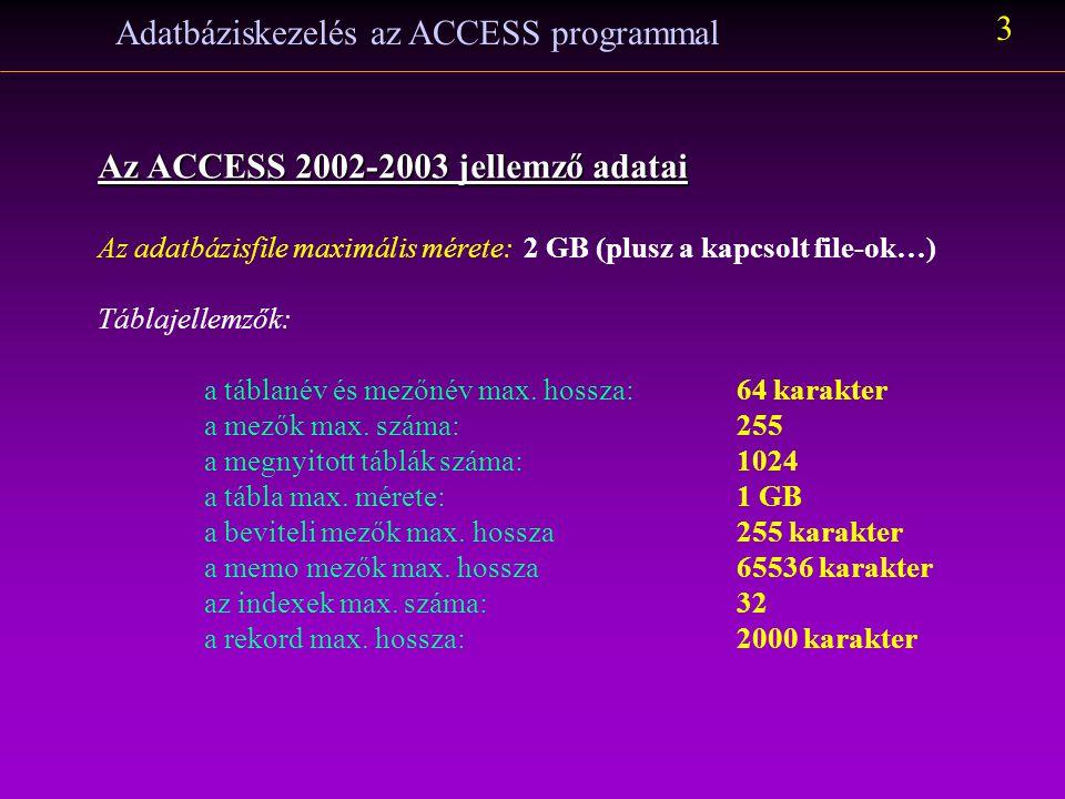 Adatbáziskezelés az ACCESS programmal 3 Az ACCESS 2002-2003 jellemző adatai Az adatbázisfile maximális mérete:2 GB (plusz a kapcsolt file-ok…) Táblaje