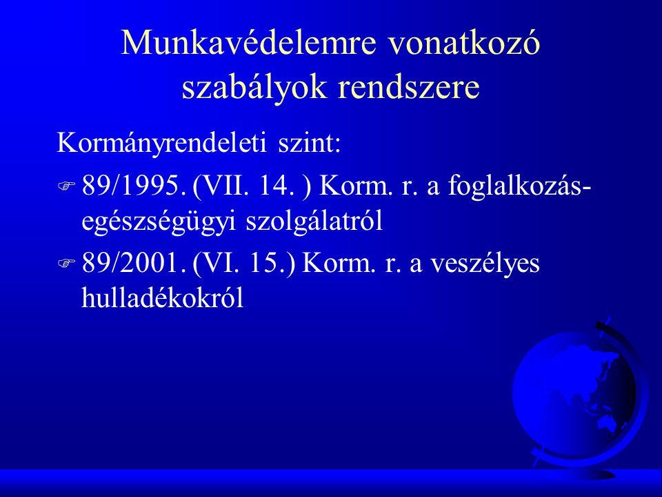 Munkavédelemre vonatkozó szabályok rendszere Kormányrendeleti szint: F 89/1995. (VII. 14. ) Korm. r. a foglalkozás- egészségügyi szolgálatról F 89/200