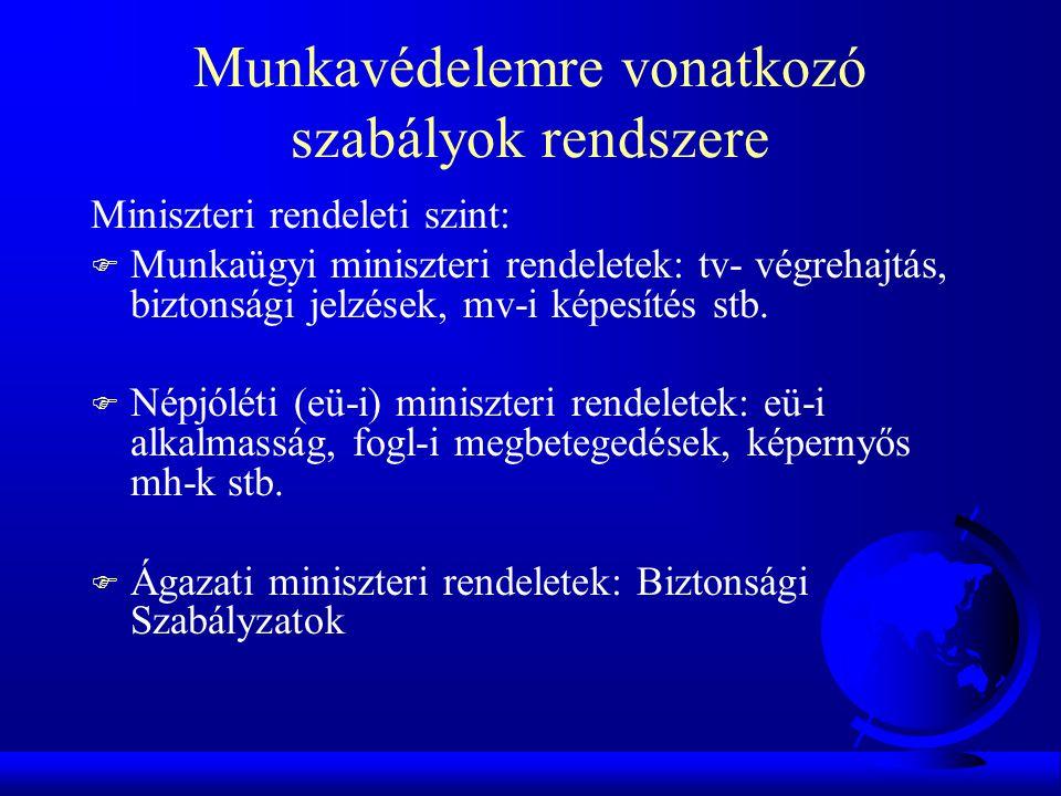 Munkavédelemre vonatkozó szabályok rendszere Miniszteri rendeleti szint: F Munkaügyi miniszteri rendeletek: tv- végrehajtás, biztonsági jelzések, mv-i