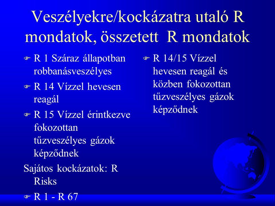 Veszélyekre/kockázatra utaló R mondatok, összetett R mondatok F R 1 Száraz állapotban robbanásveszélyes F R 14 Vízzel hevesen reagál F R 15 Vízzel érintkezve fokozottan tűzveszélyes gázok képződnek Sajátos kockázatok: R Risks F R 1 - R 67 F R 14/15 Vízzel hevesen reagál és közben fokozottan tűzveszélyes gázok képződnek