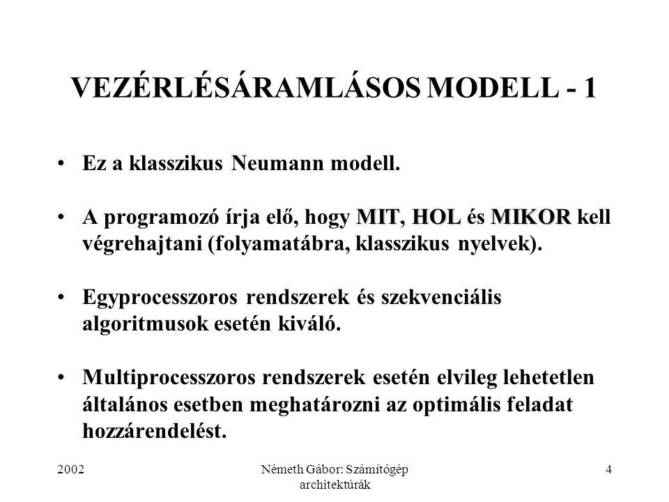 2002Németh Gábor: Számítógép architektúrák 5 VEZÉRLÉSÁRAMLÁSOS MODELL - 2 A vezérlésáramlásos szervezés általános esetben nem teszi lehetővé a párhuzamosíthatóság felderítését.