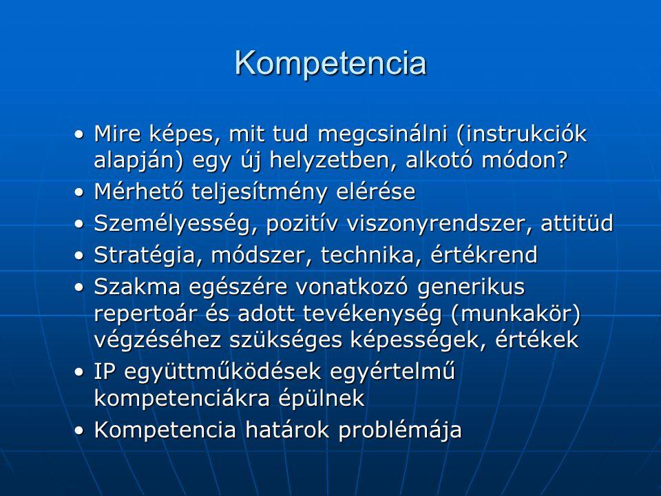 Kompetencia Mire képes, mit tud megcsinálni (instrukciók alapján) egy új helyzetben, alkotó módon?Mire képes, mit tud megcsinálni (instrukciók alapján