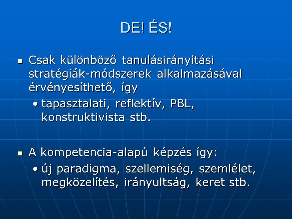 DE! ÉS! Csak különböző tanulásirányítási stratégiák-módszerek alkalmazásával érvényesíthető, így Csak különböző tanulásirányítási stratégiák-módszerek