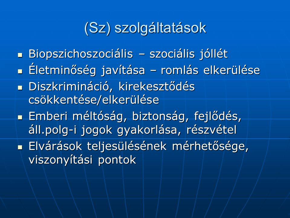 (Sz) szolgáltatások Biopszichoszociális – szociális jóllét Biopszichoszociális – szociális jóllét Életminőség javítása – romlás elkerülése Életminőség