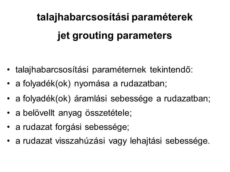 talajhabarcsosítási paraméterek jet grouting parameters talajhabarcsosítási paraméternek tekintendő: a folyadék(ok) nyomása a rudazatban; a folyadék(o
