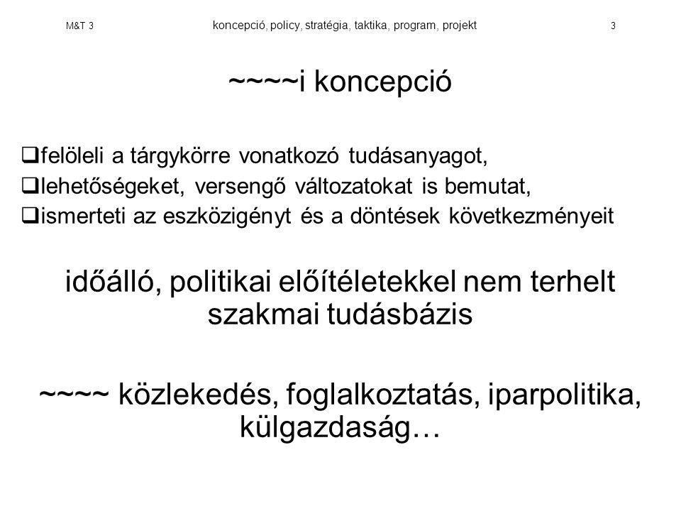 M&T 3 koncepció, policy, stratégia, taktika, program, projekt 14 FOGALMAKTAKTIKA ÉRTELMEZÉSE