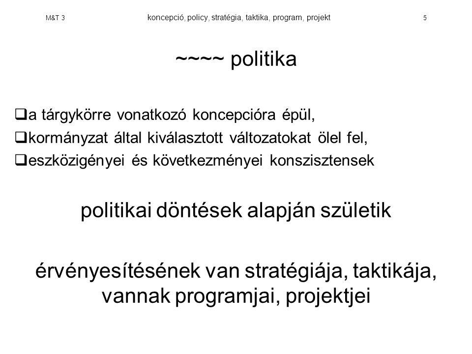 M&T 3 koncepció, policy, stratégia, taktika, program, projekt 5 ~~~~ politika  a tárgykörre vonatkozó koncepcióra épül,  kormányzat által kiválasztott változatokat ölel fel,  eszközigényei és következményei konszisztensek politikai döntések alapján születik érvényesítésének van stratégiája, taktikája, vannak programjai, projektjei