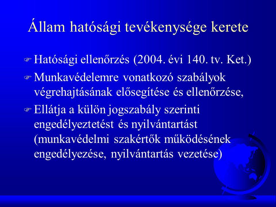 Állam hatósági tevékenysége kerete F Hatósági ellenőrzés (2004. évi 140. tv. Ket.) F Munkavédelemre vonatkozó szabályok végrehajtásának elősegítése és