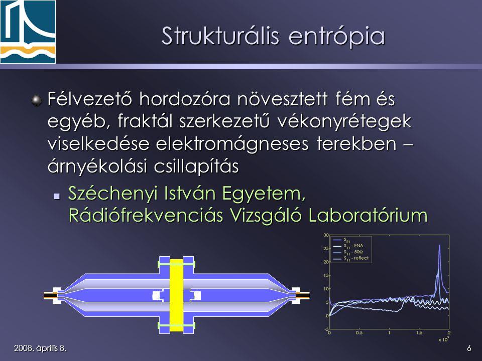 62008. április 8. Strukturális entrópia Félvezető hordozóra növesztett fém és egyéb, fraktál szerkezetű vékonyrétegek viselkedése elektromágneses tere